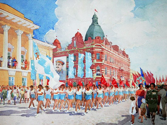 VV Mizerov. The parade of athletes, 1946. Tomsk Regional Museum