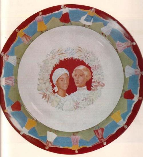 'Wedding' Dish. Porcelain of 1923. Artist Kuzma Petrov-Vodkin