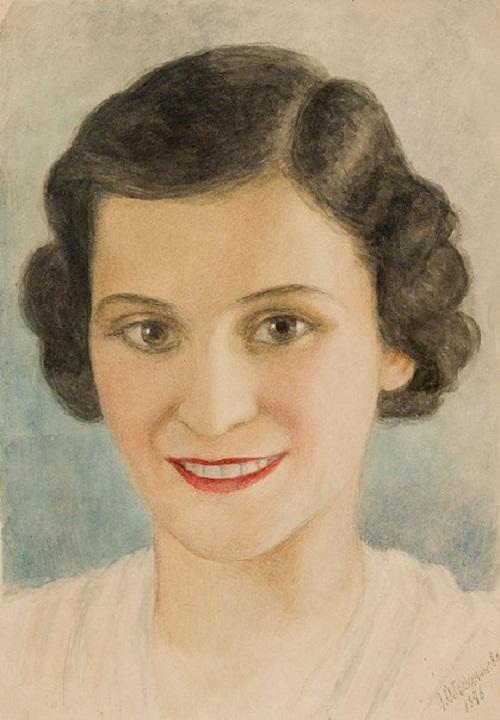 Oil portrait of ballerina Olga Lepeshinskaya