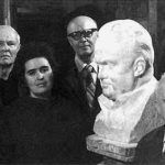 In the studio of the Soviet sculptor Zinovy Vilensky. From left to right – EV Shabarov, PA Tsybin, NS Koroleva, SS Kryukov, ZM Vilensky, BE Chertok