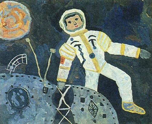 Soviet children painting Space