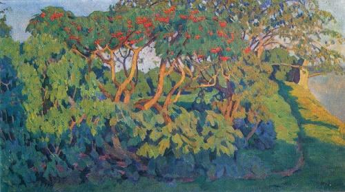 Konstantin Yuon. 1875-1958. Bush of elder. Pskov. 1907. Oil on canvas