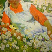 Marzia and Dandelions, 1973 (oil on canvas)