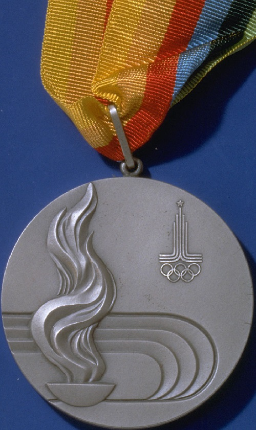 Medal of Moscow Olympics, the reverse was designed by Soviet sculptor Ilya Postol