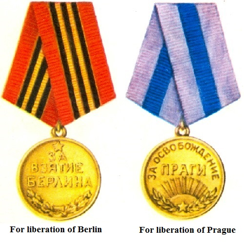 Medals For liberation of Prague and Berlin