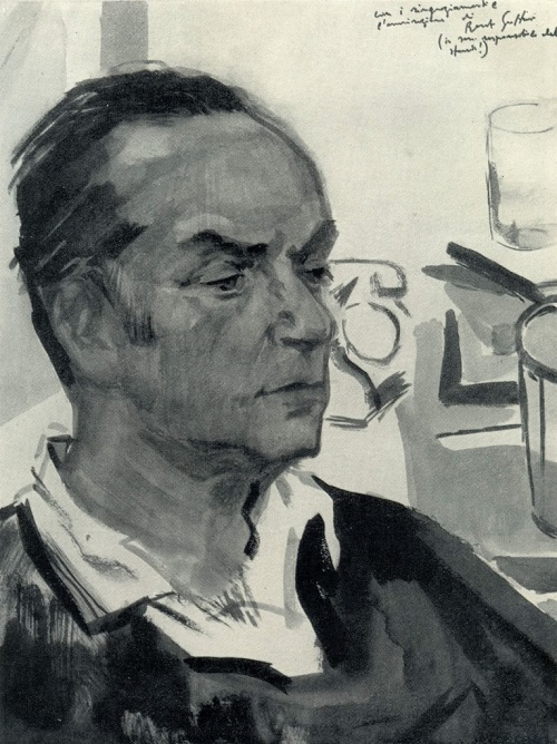 Mikail Abdullayev. Portrait of Renato Guttuso. 1969. Watercolor