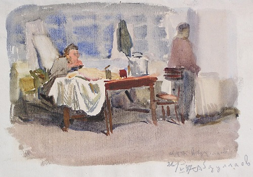 Mikail Husein oglu Abdullayev (1921 - 2002). In the dormitory of the Art Institute. 1947. Watercolor on paper
