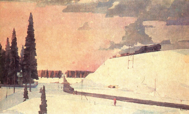 Moscow suburb. February. 1957. Oil on canvas. Tretyakov gallery