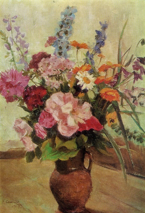 Bouquet for birthday. 1970. Oil