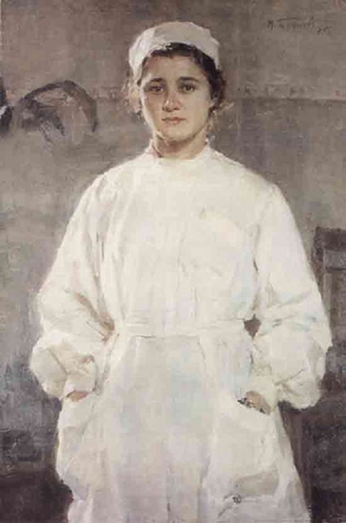 Soviet artist Mikhail Bozhyi. Nurse, 1955, oil on canvas