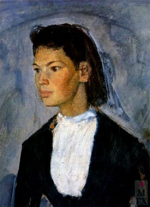 Portrait of a student girl. 1957. Detail