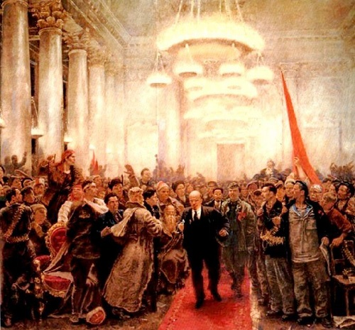 The appearance of Lenin at the II All-Russian Congress of the Soviets