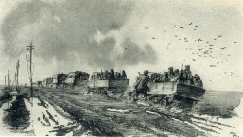 The road to the front. Drawing with ink. 1943