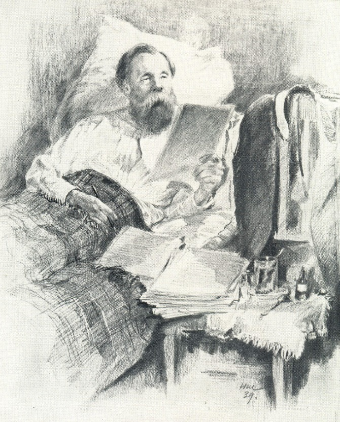 The sick Engels working on the manuscript of Das Kapital by Marx. 1939
