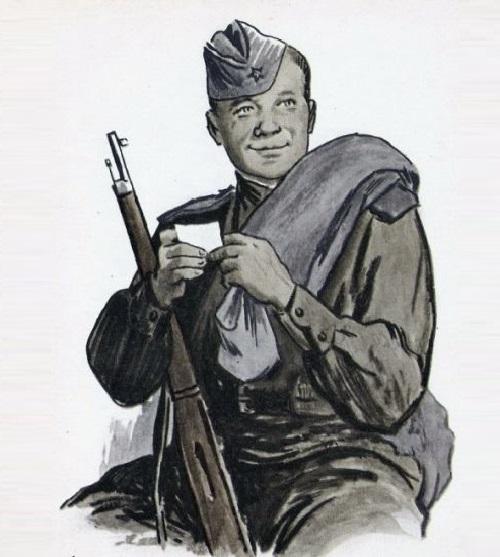 Vasily Terkin. Illustration to the poem of A. Tvardovsky. Soviet artist Orest Vereisky