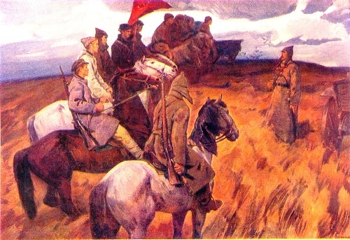 Soviet painter Victor Shatalin Squads of young fighters were gathering
