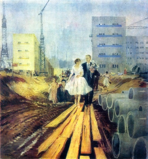 Wedding on tomorrow street. 1962. Soviet artist Yuri Pimenov