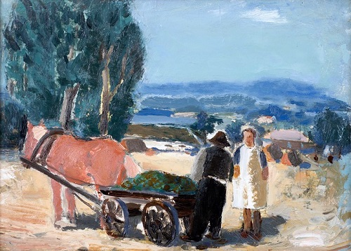 A man and a woman with a horse and wagon, 1942, oil on canvas