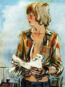 Boy with a dove. 1976. Pastel on paper
