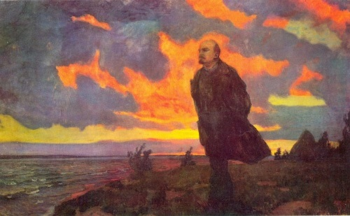 Soviet artists painting Lenin. A. Rylov. Lenin in Razliv. Oil on canvas, 1934. State Russian Museum
