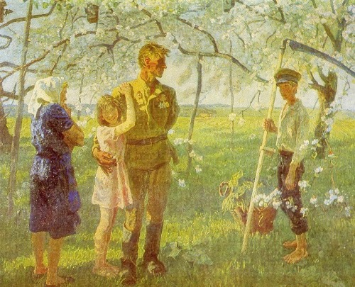 AP Tkachev and SP Tkachev (Moscow region). May of 1945. 1980-1981. From a series of paintings about the Great Patriotic War. Canvas, oil
