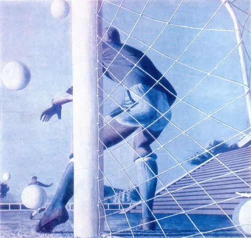 AR Lopatin (b. 1951) goalkeeper training. 1976. Gouache on paper