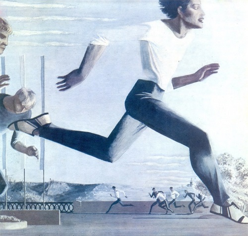 Soviet artist Andrey Lopatin (b. 1951) morning. Run. 1976. Gouache on paper