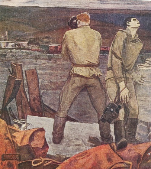 AY Nikich (1918-1994). War correspondents. Canvas, oil. 1965
