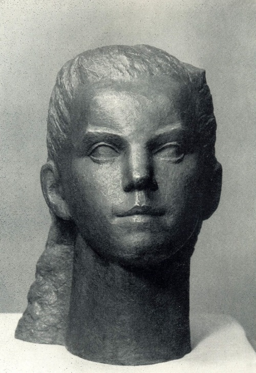 Soviet sculptor Alexandra Briedis (July 25, 1901 - November 14, 1992). Portrait of schoolgirl Mary. 1970. Gypsum