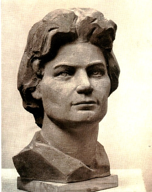 Angelina Leonova (born 1926). The pilot - cosmonaut, Hero of the Soviet Union V. Tereshkova. 1965. Concrete