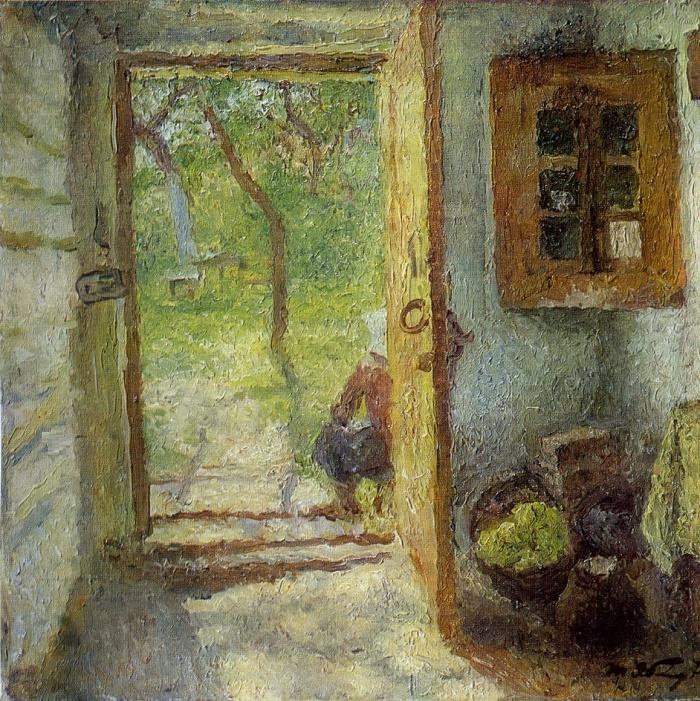 At the door. 1976