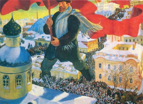 Great October Revolution in painting. Boris Kustodiev. Bolshevik. Oil. 1920. The State Tretyakov Gallery