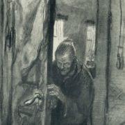 Crime and Punishment. Illustration for Dostoyevsky's novel. 1935. Coal, black watercolor