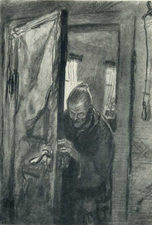 Crime and Punishment. Illustration for Dostoyevsky's novel. 1935. Coal, black watercolor