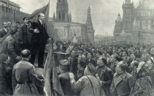 Dmitry Arkadievich Nalbaldyan (born 1906). Lenin speaking on the Red Square in 1919. 1971. Oil