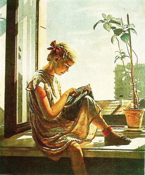 Embroidering. Soviet artist Alexander Laktionov