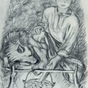 Illustration for the story of Ivan Turgenev 'Bezhin Meadow'. Pencil. 1936
