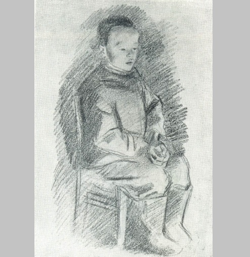 Sitting boy. In the orphanage. 1941