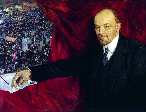 Soviet artists painting Lenin. Lenin and demonstration'. 1919. The State Historical Museum
