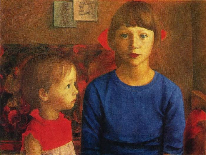 Katya and Masha. Oil. 1980