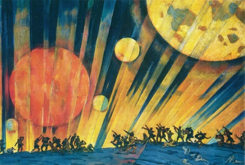 Great October Revolution in painting. Konstantin Yuon (1875-1958). The new planet. Tempera. 1921. The State Tretyakov Gallery