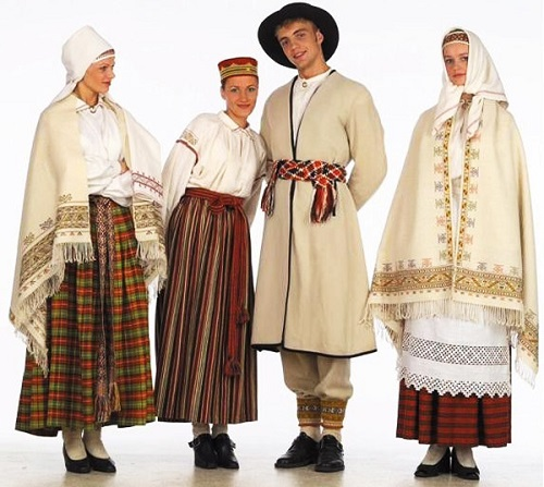 Latvian SSR people in traditional clothes
