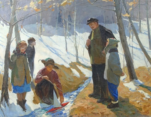 Lev Samoilov (1912 - 1988). Lenin and children. canvas, oil. 1957