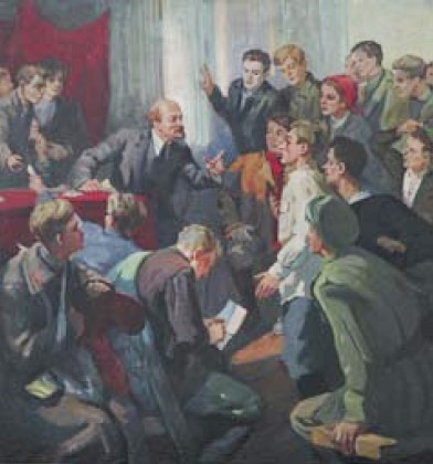 Lidiya Ponomareva (1906). Lenin and komsomol members. 1970