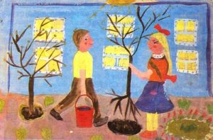 Young Soviet artists painting Friendship