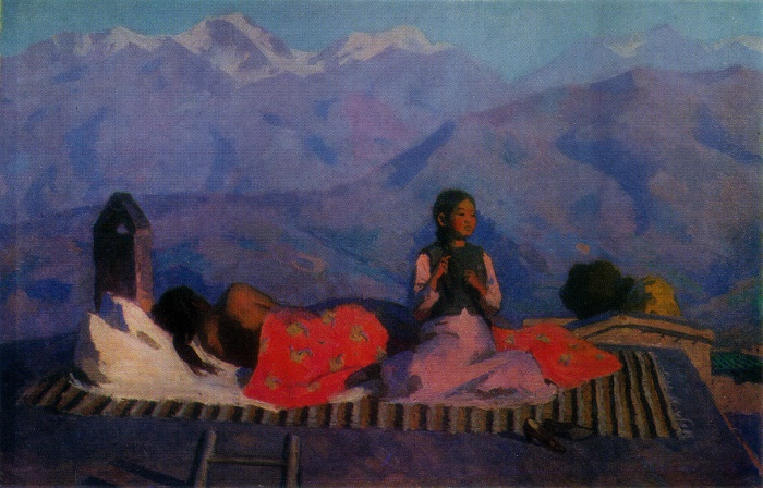 Morning in a mountain village. 1967. Oil on canvas. State Russian Museum