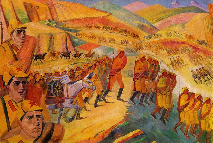 Mountain march of Armenian national units. 1933. Oil on canvas. Central Museum of the Armed Forces of the USSR