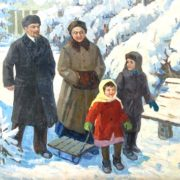 Nikolai Shaulov (1912 - 1982). Lenin and Krupskaya with children. 1966