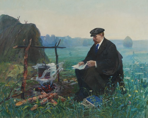 Nikolai Volodin (1913 - 1986). VI Lenin in Razliv. canvas, oil. 1966