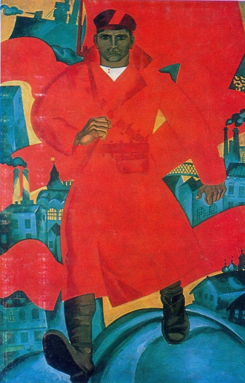 Great October Revolution in painting. O. Savostyuk, B. Uspensky. Revolutionary keep step. The left part of the triptych. Poster